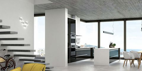 Floor, Flooring, Furniture, Interior design, Room, Wall, Tile, Ceiling, Tile flooring, Grey,