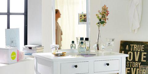 Room, Interior design, White, Bar stool, Furniture, Home, Basket, Drawer, Interior design, Grey,