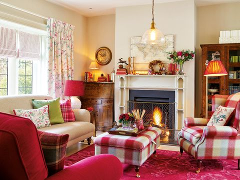 Living room, Room, Furniture, Interior design, Property, Fireplace, Decoration, Red, Hearth, Home,