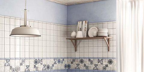 Room, Interior design, Wall, Light fixture, Furniture, Tile, Interior design, Floor, Plumbing fixture, Ceramic,