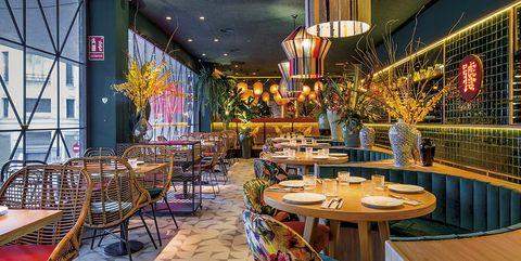 Restaurant, Interior design, Building, Room, Architecture, Table, Ceiling, Furniture, Bar, Leisure,