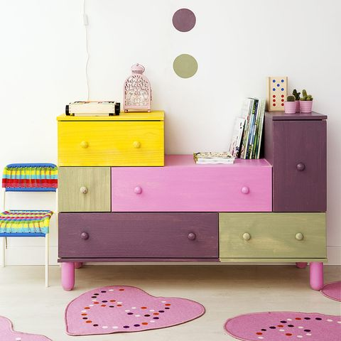 Room, Chest of drawers, Drawer, Furniture, Magenta, Pink, Purple, Cabinetry, Violet, Lavender,