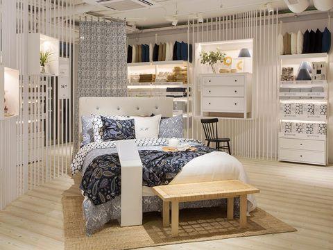 Furniture, Room, Interior design, Product, Property, Bedroom, Bed, Living room, Floor, Table,