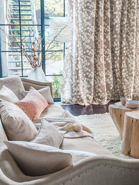 Curtain, Interior design, Room, Window treatment, Living room, Furniture, Home, Textile, Window, Window covering,
