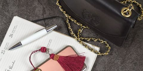 Bag, Fashion accessory, Handbag, Pink, Leather, Wallet, Design, Material property, Font, Chain,
