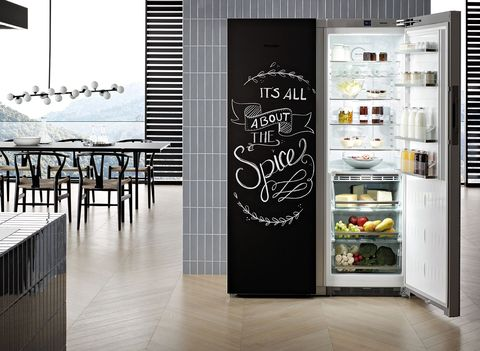 Product, Door, Wall, Room, Interior design, Black-and-white, Furniture, Banner, Building, Refrigerator,
