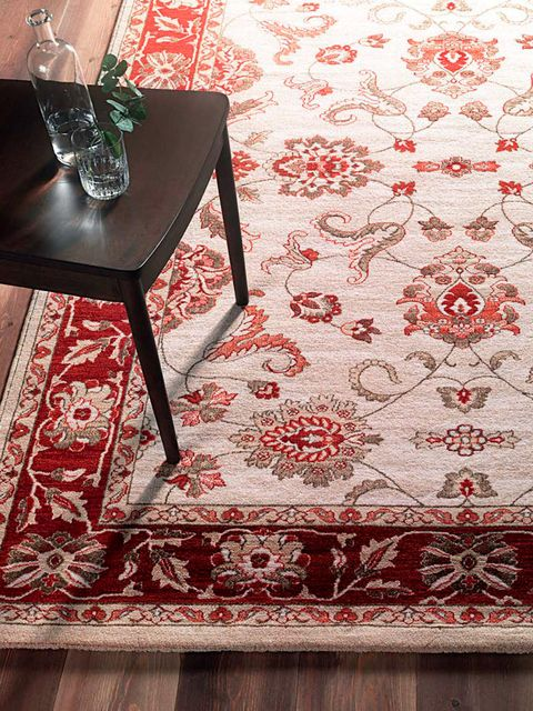 Red, Floor, Flooring, Table, Tablecloth, Textile, Room, Furniture, Pattern, Wallpaper,