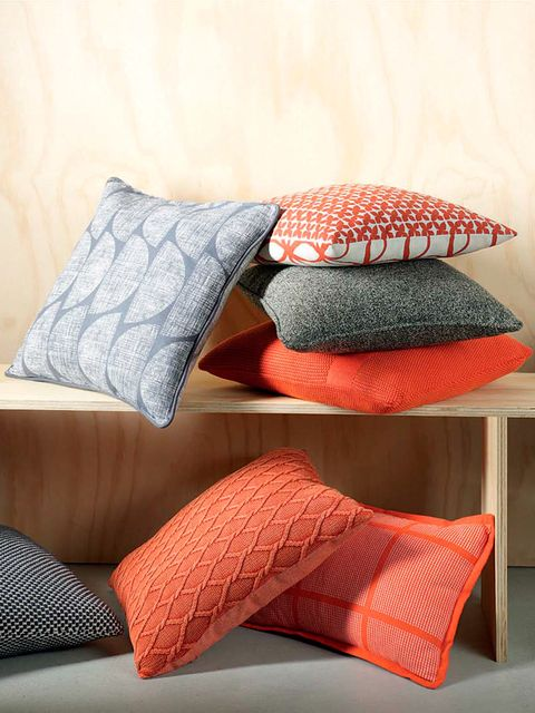 Pillow, Orange, Cushion, Bedding, Furniture, Red, Throw pillow, Bed sheet, Textile, Linens,