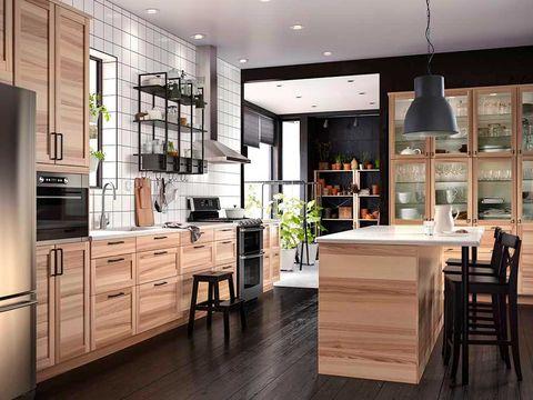 Wood, Room, Floor, Interior design, Property, Flooring, Cupboard, Countertop, Ceiling, Light fixture,