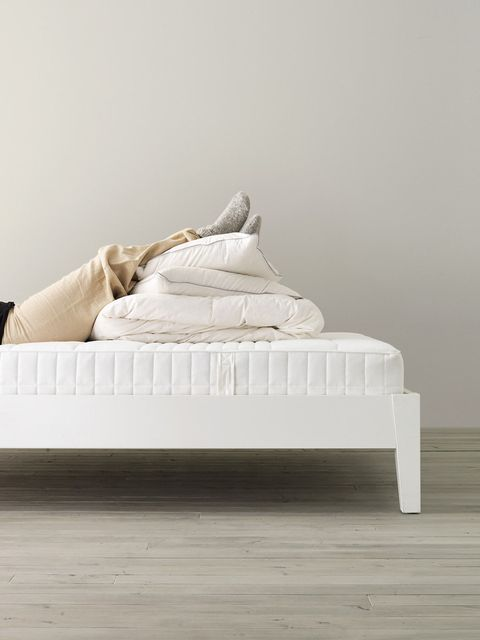 White, Furniture, Bed, Bed frame, Room, Bed sheet, Beige, Bedroom, Floor, Bedding,