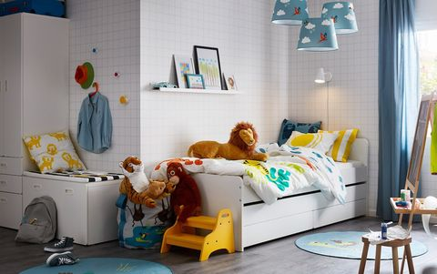 Room, Furniture, Bed, Product, Bed sheet, Yellow, Interior design, Turquoise, Bedroom, Nursery,