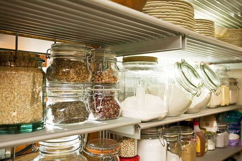 Mason jar, Shelf, Food storage containers, Pantry, Food storage, Room, Shelving, Home accessories, Tableware, Glass,