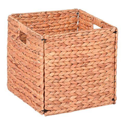 Storage basket, Basket, Wicker, Laundry basket, Brick, Home accessories, Rectangle, Wood, Lid, Beige,