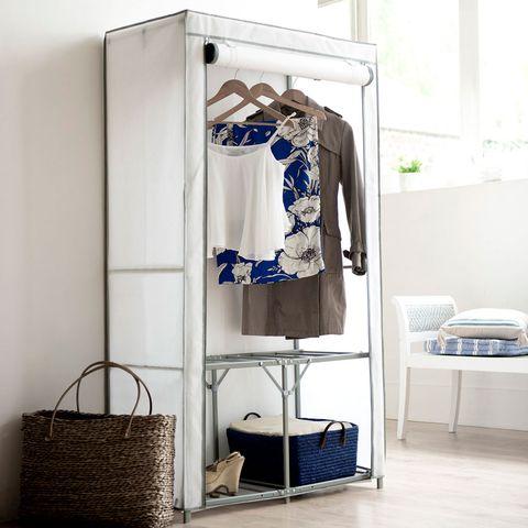 Furniture, Room, Clothes hanger, Shelf, Interior design, Iron, Cupboard, Wardrobe, Table, Textile,