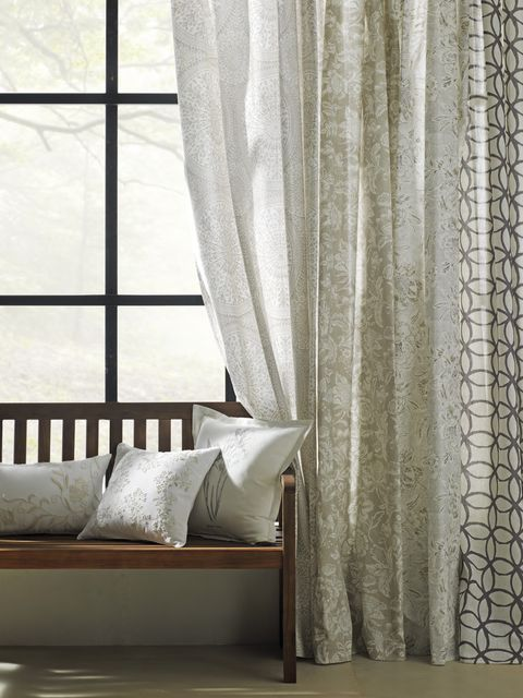 Curtain, Window treatment, Interior design, Room, Furniture, Textile, Window covering, Bed, Wall, Window,