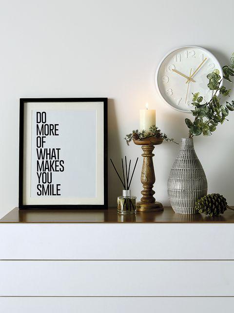 White, Shelf, Wall, Room, Furniture, Table, Interior design, Clock, Font, Black-and-white,