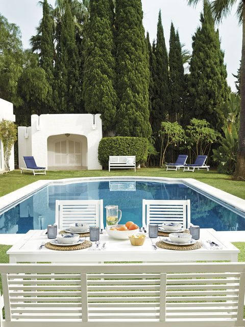 Property, Swimming pool, Furniture, House, Patio, Tree, Building, Design, Backyard, Architecture,