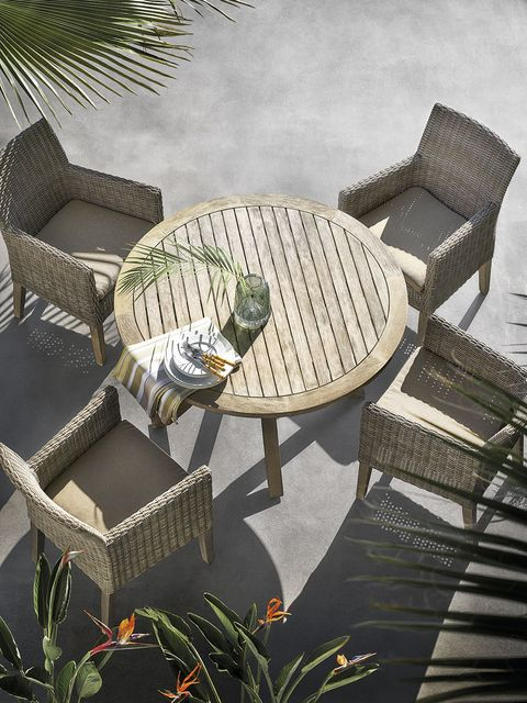Outdoor furniture, Architecture, Botany, Table, Urban design, Furniture, Tree, Landscape, House, Plant,