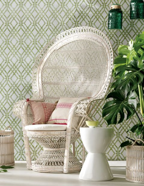 Wicker, Green, Furniture, Room, Wall, Interior design, Wallpaper, Living room, Table, Plant,