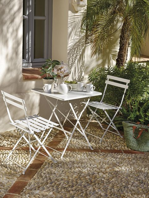 Furniture, Table, Chair, Outdoor table, Outdoor furniture, Room, Tree, House, Wicker, Yard,