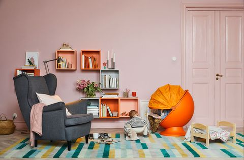 Living room, Orange, Room, Furniture, Couch, Interior design, Yellow, Turquoise, Home, House,