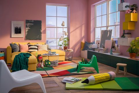 Green, Room, Living room, Yellow, Interior design, Furniture, House, Table, Home, Floor,