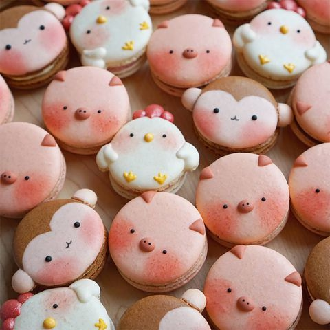 Pink, Food, Comfort food, Biscuit, Smile, Meringue, Cuisine, Button, Macaroon, Finger food,