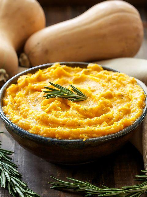 Puré de calabaza con queso de cabra y romero