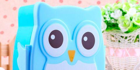Owl, Cartoon, Product, Aqua, Bird, Font, Bird of prey, Coin purse, Tableware,