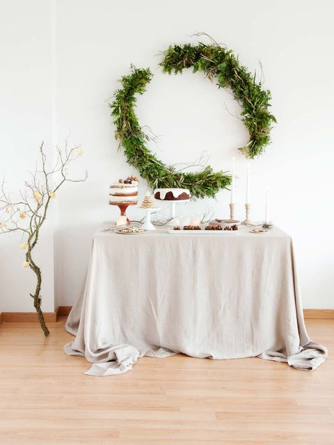 Tablecloth, Branch, Floor, Textile, Flooring, Table, White, Linens, Twig, Home accessories,