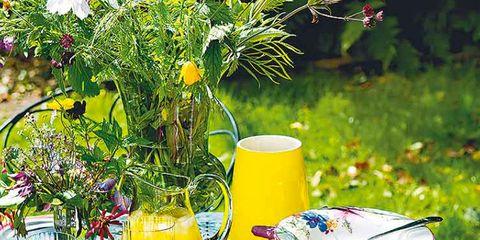 Serveware, Dishware, Yellow, Tablecloth, Textile, Furniture, Tableware, Drinkware, Table, Flowerpot,