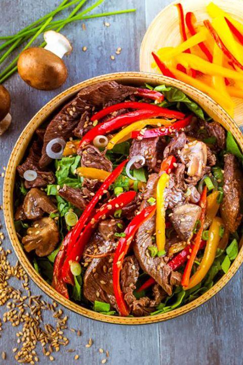 solomillo de buey con verduras