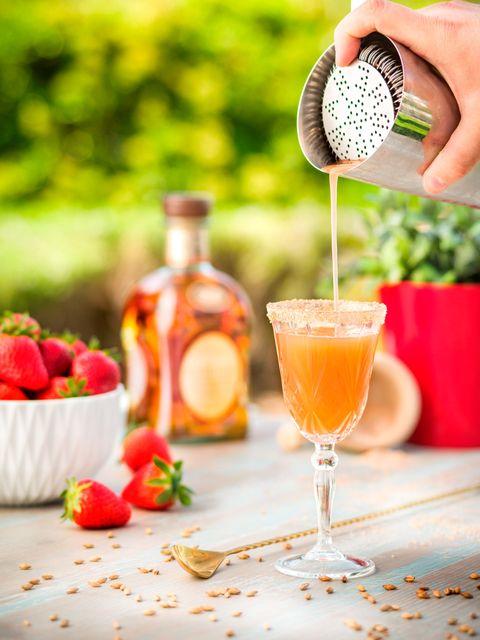 Food, Drink, Alcoholic beverage, Produce, Ingredient, Cocktail, Stemware, Tableware, Bottle, Juice,