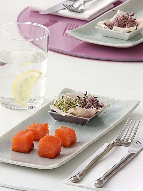 Food, Dish, Cuisine, Ingredient, À la carte food, Meal, Plate, Dishware, Smoked salmon, Tableware,