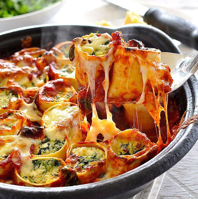 rollitos gratinados de espinacas y queso ricotta