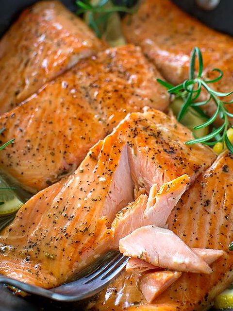 Food, Dish, Cuisine, Ingredient, Chicken meat, Salmon, Roasting, Marination, Smoked salmon, Meat,