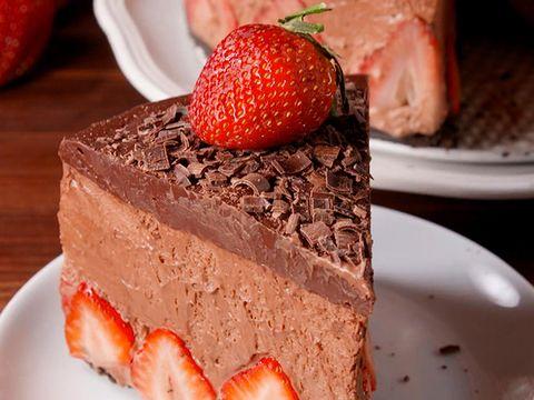 Dish, Food, Cuisine, Cake, Dessert, Frozen dessert, Semifreddo, Strawberries, Strawberry, Ingredient,