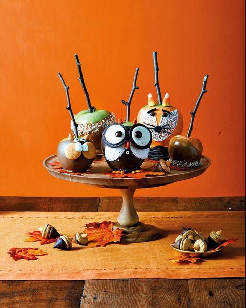receta para halloween de manzanas con caramelo decoradas