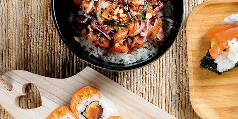 Dish, Food, Cuisine, Gimbap, Sushi, Ingredient, California roll, Comfort food, Produce, Recipe,