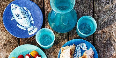 Blue, Dishware, Serveware, Aqua, Plate, Fruit, Cup, Ceramic, Platter, Meal,