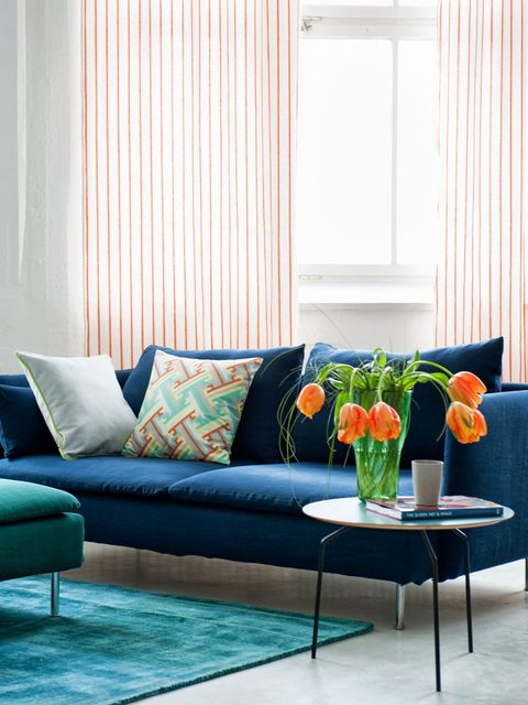 Furniture, Living room, Couch, Room, Interior design, Curtain, Blue, Orange, Turquoise, Coffee table,
