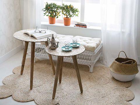 Flowerpot, Room, Table, Flooring, Floor, Interior design, Home accessories, Grey, Houseplant, Beige,