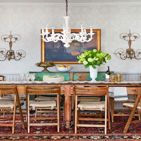 Furniture, Room, Dining room, Table, Interior design, Turquoise, Chair, Kitchen & dining room table, Hutch, Building,