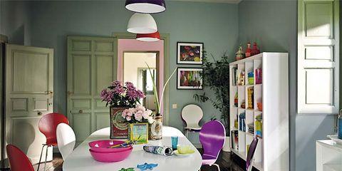Room, Interior design, Floor, Furniture, Table, Flooring, Home, Pink, Wall, Purple,