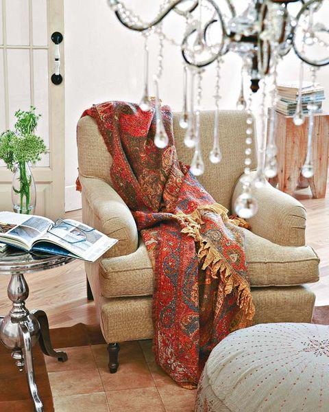 Room, Interior design, Interior design, Maroon, Lamp, Houseplant, Home accessories, Silver, Armrest, Slipcover,