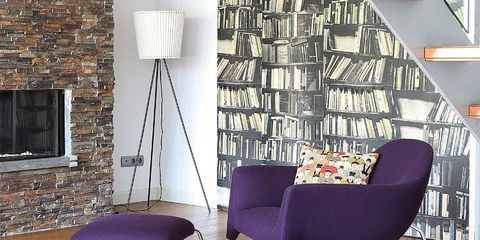 Floor, Flooring, Interior design, Wood, Room, Purple, Hardwood, Wall, Furniture, Wood flooring,