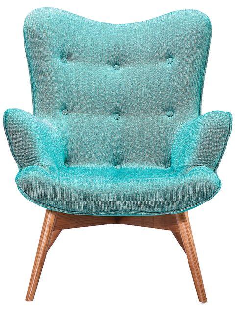 Blue, Product, Textile, Chair, Furniture, Teal, Turquoise, Aqua, Armrest, Club chair,