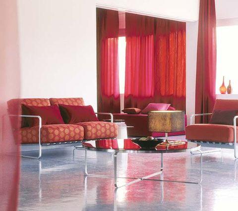 Interior design, Room, Floor, Flooring, Red, Furniture, Couch, Interior design, Pink, Living room,