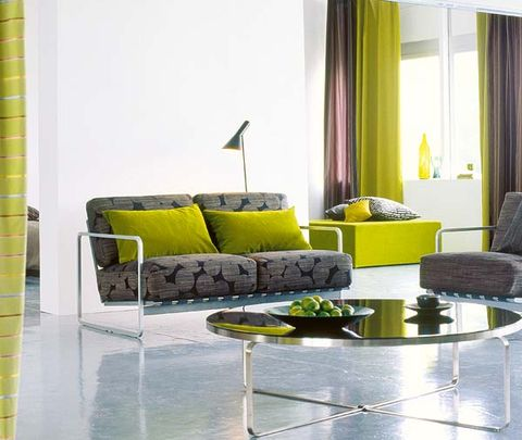 Interior design, Yellow, Room, Wall, Couch, Furniture, Living room, Floor, Flooring, Interior design,