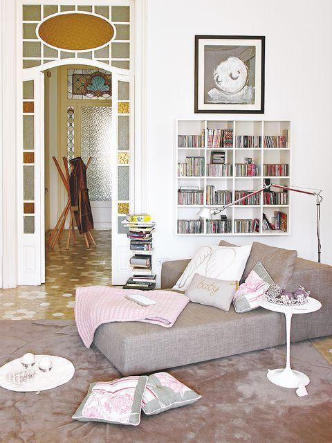 Room, Interior design, Home, Living room, Flooring, Floor, Furniture, Shelf, Shelving, Grey,